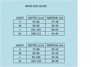 MENS BOODY SIZE CHART